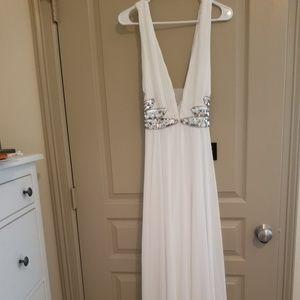 Lulu's white long angel greek sequin dress